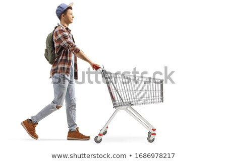 Man Walking by Empty Shopping Cart Trolley Stock photo © stevanovicigor