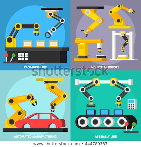 Stock photo: Industry Infographic Set with Factory Conveyor and Robot Arm