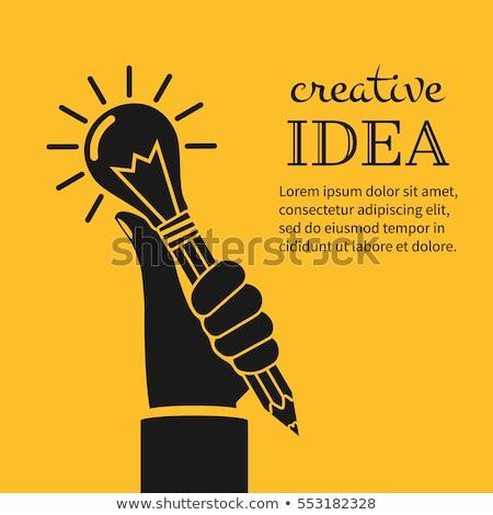 Creative main ampoule crayon éducation idée Photo stock © vgarts