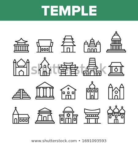 templo · silhueta · pôr · do · sol · céu · laranja · azul - foto stock © dzejmsdin