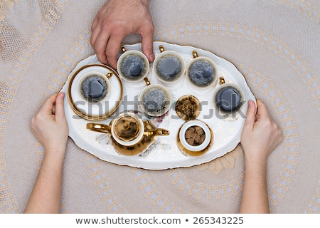 Six Cups of Turkish Coffee on a White Tray Stock photo © ozgur