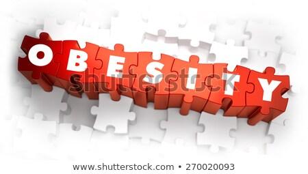 Fettleibigkeit weiß Wort rot 3d render Puzzle Stock foto © tashatuvango