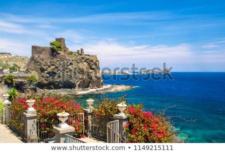 İtalya · kaya · fotoğrafları · kale · sicilya · lav - stok fotoğraf © silroby