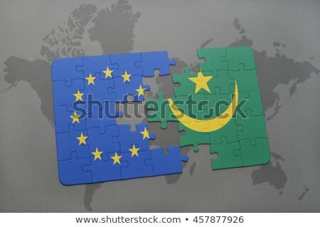 ヨーロッパの 組合 モーリタニア フラグ パズル 孤立した ストックフォト © Istanbul2009