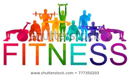 Fitness woman with barbells on gym background Stock photo © dashapetrenko
