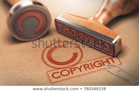 Droit d'auteur tampon rouge encre texte bois Photo stock © make