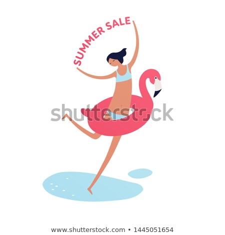 Foto stock: Feliz · mulher · jovem · maiô · vermelho · venda · assinar