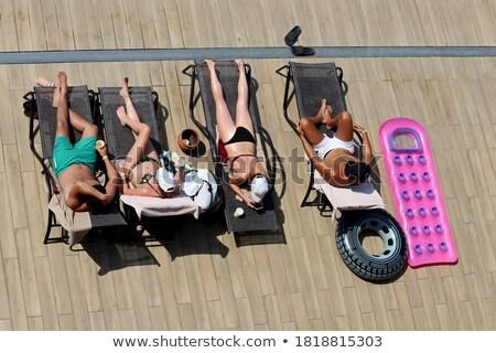 Twee vrouwen lucht matras zwembad portret vrouw Stockfoto © deandrobot
