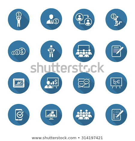 business coaching icon set online learning flat design stock photo © wad