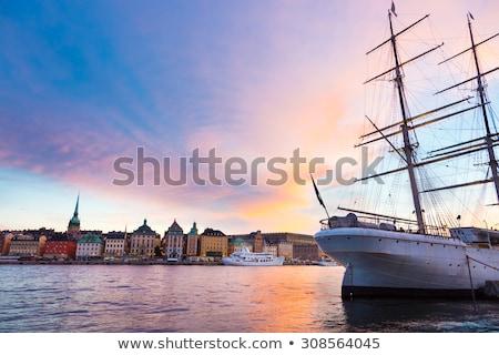 skyline · Stockholm · Zweden · nacht · oude · binnenstad · zonsondergang - stockfoto © kasto