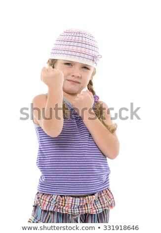 Little Girl in Bright Dress Shows Fists Stock photo © Discovod
