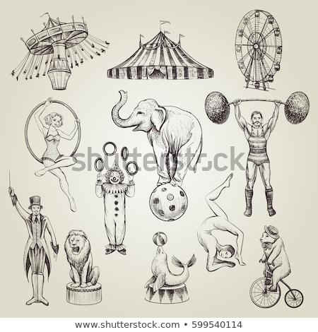 Doodle circus acrobaat geïsoleerd witte uitstekend Stockfoto © netkov1