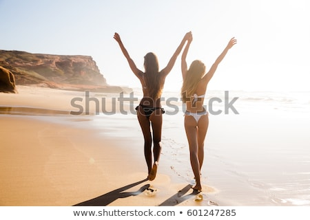 gyönyörű · bikini · elegáns · nő · piros · ajkak · mosoly - stock fotó © svetography