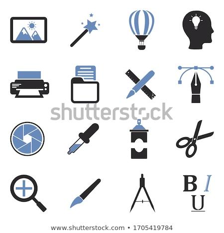 Araçları mavi vektör ikon dizayn dijital Stok fotoğraf © rizwanali3d