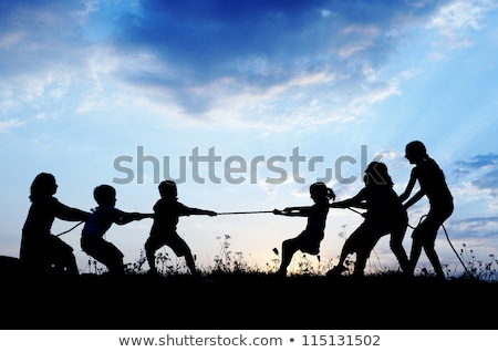 vader · kinderen · zonsondergang · handen · wolken · natuur - stockfoto © adrenalina