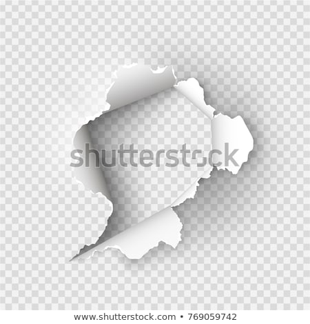 Gray sheet ofcrumpled paper with a hole Stock photo © pzaxe