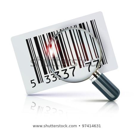 Stock fotó: Nagyító · vonalkód · vonal · ikon · háló · mobil