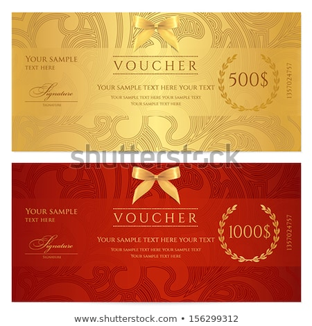 Vintage red gift certificate with golden ornament pattern Stock photo © liliwhite