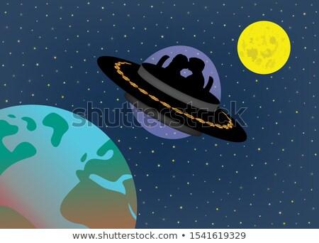 Pár UFO sziluett illusztráció férfi éjszaka Stock fotó © adrenalina