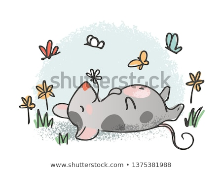 Rat, mouse as symbol for year 2020 by Chinese traditional horoscope with grass Stock photo © Hermione