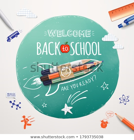 Rocket ship launch with pencil. EPS 10 Stock photo © beholdereye