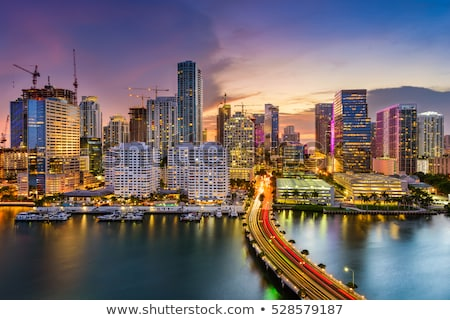 Miami sziluett éjszaka gyönyörű víz tükröződések Stock fotó © creisinger