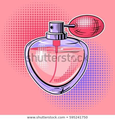 Retro cartoon kobieta perfum odizolowany dziewczyna Zdjęcia stock © kariiika