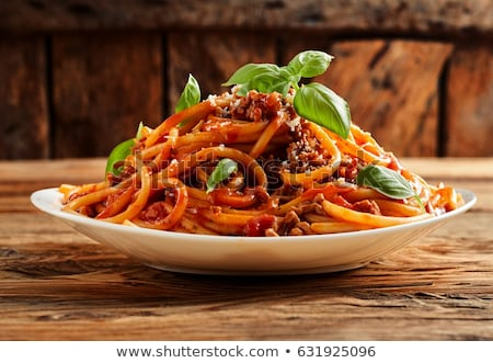 Stock photo: Spaghetti with minced meat and grated cheese