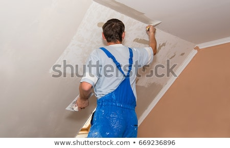 ビルダー ワーカー 具体的な 壁 家 建設 ストックフォト © stoonn