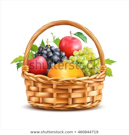 Foto stock: Outono · cesta · frutas · folhas · comida