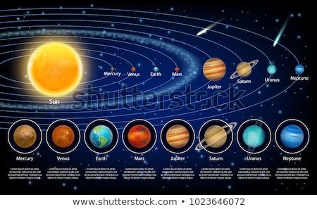 nyolc · bolygók · naprendszer · körül · nap · fekete - stock fotó © Freshdmedia