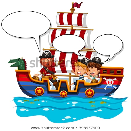 Children riding on viking ship at sea Stock photo © bluering