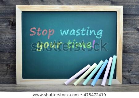Stop czasu tekst zielone pokładzie grupy Zdjęcia stock © fuzzbones0