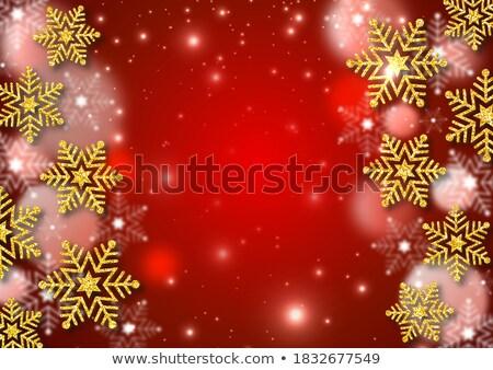 Káprázatos hópelyhek arany piros absztrakt terv Stock fotó © balasoiu
