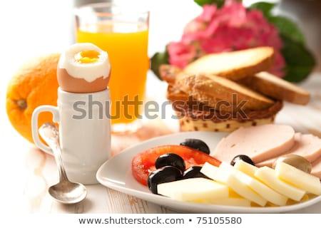 завтрак · таблице · круассан · яйца · оливками · фрукты - Сток-фото © janssenkruseproducti