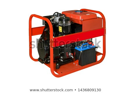 Red gasoline generator viewed from side Stock photo © ozgur