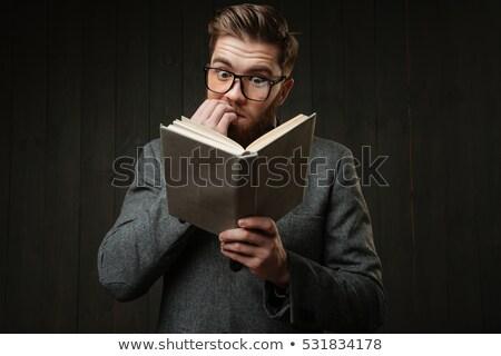 portré · figyelmes · hipszter · férfi · fából · készült · állás - stock fotó © deandrobot