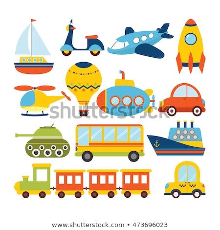 tank · speelgoed · icon · dun · lijn · vector - stockfoto © smoki