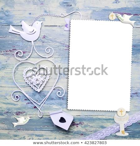 first holy communion vertical invitation girl stock photo © marimorena