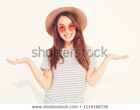 笑みを浮かべて · 小さな · 女性 · 立って · 服 - ストックフォト © deandrobot