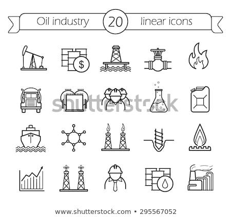 benzin · konténer · vékony · vonal · ikon · háló - stock fotó © rastudio