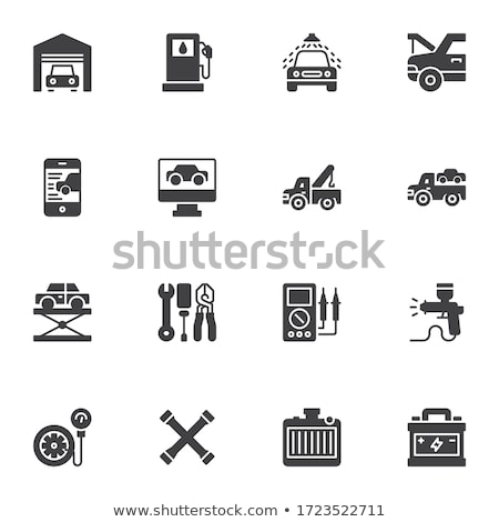 Autó szolgáltatás ikon szett stílus kezek notebook Stock fotó © ylivdesign