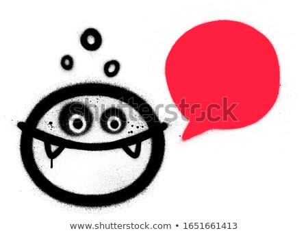 graffiti sprayed text balloon in black over white Stock photo © Melvin07