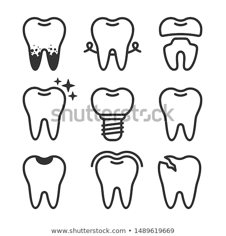 Foto stock: Vector Flat Style Illustration Of Happy Tooth With Crown