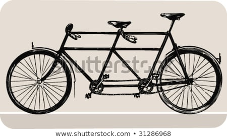 Retro red silhouette tandem bicycle isolated on a white backgrou Stock photo © NikoDzhi