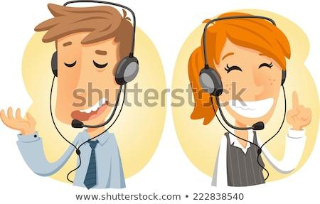 Foto stock: Customer Service Call Center Operator On Duty Vector Illustratio
