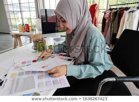 Disenador textiles material trabajo Foto stock © deandrobot