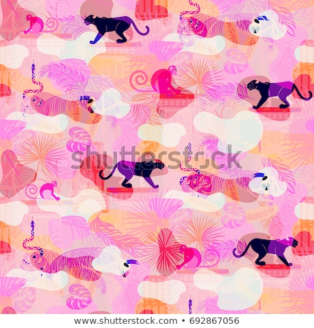 Pink eclectic rainforest wild animals and plants camo seamless pattern. Stock photo © yopixart