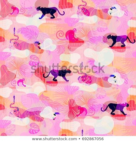 pink eclectic rainforest wild animals and plants camo seamless pattern stock photo © yopixart
