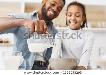 tál · reggeli · gabonafélék · kancsó · tej · vegyes - stock fotó © Digifoodstock